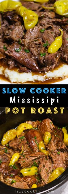 Ultimate Crockpot Mississippi Roast is amazingly juicy and fork-tender! It takes 10 minutes of prep in the morning and the roast is simmered in a rich and divine sauce all day in the slow cooker. Add some vegetables to the crockpot and you'll have a perfect weeknight meal with build-in gravy. #MississippiRoast #MississippiPotRoast #SlowCookerMississippiPotRoast #CrockpotMississippiRoast