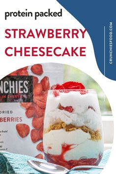 Cheesecake Shooters, Cheesecake Recipes, Summer Desserts, Easy Desserts, Whole 30 Snacks, Snack Recipes, Dessert Recipes, Nonfat Greek Yogurt, Freeze Dried Strawberries