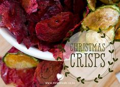 A recipe for Christmas Crisps - a festive title for beetroot and zucchini vegetable chips. A healthier alternative for the Christmas snack table (and red and green to match the decor! Zucchini Vegetable, Vegetable Chips, Christmas Snacks, Christmas Recipes, Dairy Free, Gluten Free, Crisp Recipe, My Cookbook, Social Events