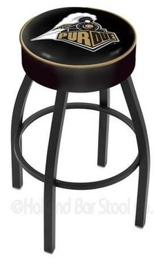 """Purdue University Bar Chair Seat Stool Barstool by Holland Bar Stool. $99.99. Commercial Grade Vinyl/Steel. Unisex Adults. Officially Licensed Purdue Boilermakers Bar Chair Seat Stool Barstool. Swivel Stool Made in USA. Please Select Seat Height From The Drop Down. Purdue Boilermakers swivel bar stool. This contemporary Boilermakers logo stool has a single-ring black wrinkle base with a 4"""" cushion for extra comfort. The logo is created using a detailed screen pri..."""