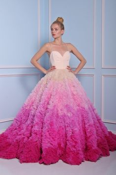 From a puffy wedding dress , two pieces dress to ombre modern wedding dress you will find every style from Christian Siriano bridal his modern wedding gowns are unique in fashion Bridal Gown Styles, Bridal Gowns, 2017 Bridal, Wedding 2017, Pink Wedding Dresses, Gown Wedding, Unique Colored Wedding Dresses, Ombre Wedding Dress, Wedding Blue