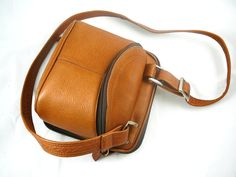 Fantastic tan leather camera bag / handbag crossbody combo - buttery soft leather, brown purse. (Sold via Etsy.