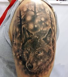 realistic shaded black and grey male forest wolf tattoo ideas on forearm alen pinterest. Black Bedroom Furniture Sets. Home Design Ideas
