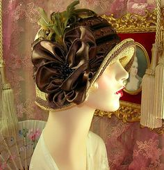1920's vintage style large size brown & tan beaded feather cloche flapper hat