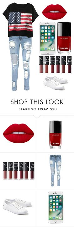 """""""USA PRIDE"""" by kellyaguilera ❤ liked on Polyvore featuring Lime Crime, Chanel, Boohoo, Lacoste, Chicnova Fashion, casual, teen, USA and pride"""