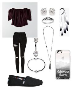 """Untitled #71"" by cjandersonhaley on Polyvore featuring American Eagle Outfitters, Topshop, Alex and Ani, TOMS and Casetify"