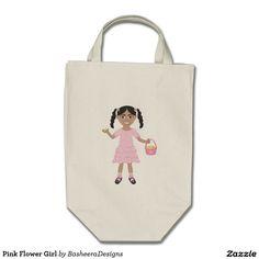 Pink Flower Girl Grocery Tote Bag