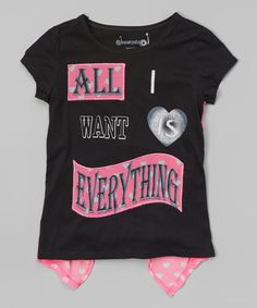 Look at this #zulilyfind! Black 'All I Want' Tee - Girls by Dreamstar #zulilyfinds