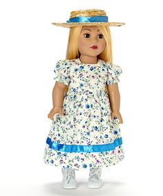 This Country Picnic Floral Dress & Hat Doll Outfit Set is perfect! #zulilyfinds