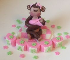 EDIBLE CAKE TOPPER Mama Monkey and Baby Monkey by EdibleSugarArt, $45.00