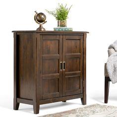 Simpli Home Burlington 2 Door Low Storage Cabinet & Reviews | Wayfair