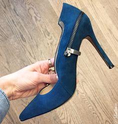 Nine West Canada Shoes Fall 2015 - Cobalt blue suede pumps with zipper