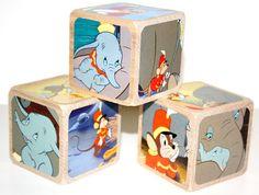 Dumbo Children's Wooden Baby Blocks - Nursery Room Decor - Elephant Theme - Baby Girl Nursery - Baby Boy Nursery - 2 Inch Hardwood Blocks