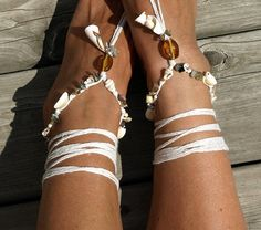 Amber sea shells, beaded barefoot sandal, Bare foot jewelry, Yoga shoes, Beach wedding, Boho anklet