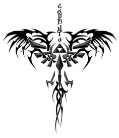 Tattoo design I edited... says courage at the top in the tp zelda alphabet ♡ Would start at the neck and branch out on the shoulders
