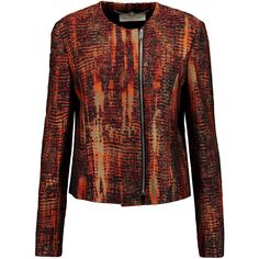 Stella McCartney Jacquard jacket ($450) ❤ liked on Polyvore featuring outerwear, jackets, orange, red zipper jacket, stella mccartney jacket, multi color jacket, orange jacket and zip jacket