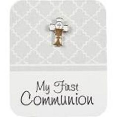 MY FIRST HOLY COMMUNION CROSS PIN & CARD BLESSED WEST & EAST CHURCH SACRAMENT