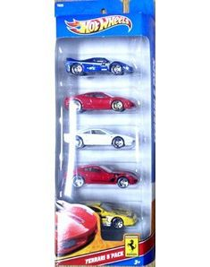 Hot Wheels 5 Car Gift Pack - Ferrari by Mattel. $10.00. 1:64 Scale. Age 3+. Five die cast cars in one pack. Race these cars to find the fastest!. This pack of 5 Ferrari cars includes the following: Ferrari F50, Ferrari 575 GTC, Ferrari 430 Scuderia, Ferrari GTO, and Ferrari 599 GTB Fiorano.  Age 3+