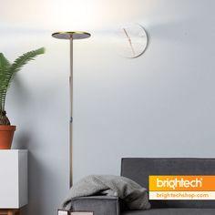 Love the floor lamp + plant combo in a minamalist room. Arc Floor Lamps, Brass Floor Lamp, Modern Floor Lamps, Mid Century House, Mid Century Style, Bright Floor Lamp, Modern Decor, Mid-century Modern, Shelf Lamp