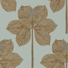 Vackert stort blad i ljusgrönt och brons från kollektionen Palmetto 111228. Klicka för att se fler inspirerande tapeter för ditt hem!