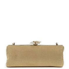 Women's Whiting & Davis 'Crystal Flower' Metal Mesh Clutch ($235) ❤ liked on Polyvore featuring bags, handbags, clutches, gold, flower clutches, chain strap handbags, flower handbags, white handbag and mesh purse