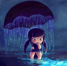 Girl under umbrella in rain cartoon illustration via www.Facebook.com/GleamOfDreams