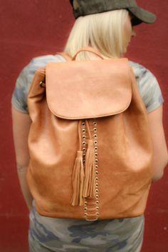 Vegan Tassle Leather Backpack-Tan