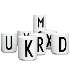 The Design Letters Arne Jacobsen Vintage ABC Cups make great pencil pots or toothbrush holders for yor student room. Arne Jacobsen, Decorative Accessories, Home Accessories, Lettering Design, Design Letters, Coffee Coasters, Diy Tableware, Student Living, Student Room