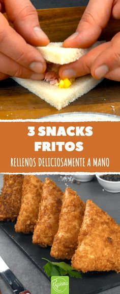 3 deep-fried triangles with delicious filling - 3 fried triangles. Handy snacks with cheese and meat # fried - Food C, Good Food, Yummy Food, Delicious Recipes, Vegetarian Recipes, Snack Recipes, Travel Snacks, Tapas Bar, Snacks Für Party