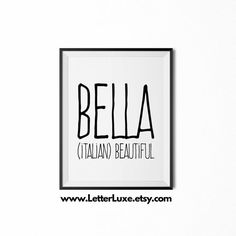 Bella Name Meaning, Printable Nursery Art, Baby Shower Gift, Inspirational Typography, Instant Digital Download, Baby Wall Decor Print