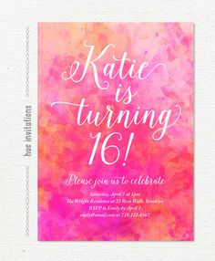 pink 16th birthday party invitation, watercolor sweet 16 invitation, digital pink coral watercolor sweet sixteen birthday party, 5x7 s23 by hueinvitations on Etsy https://www.etsy.com/listing/215475768/pink-16th-birthday-party-invitation