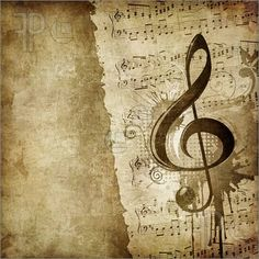 Old Paper. Retro Music Texture Background with Classic Violin.