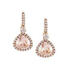 Orecchini monachina in oro rosa, diamanti e morganiti