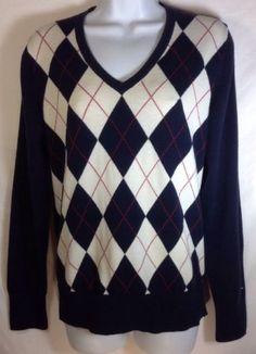 Tommy Hilfiger Sweater Large Womens Argyle V-Neck Pima Cotton Navy Blue