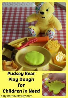 A simple way to play with play dough and create your own Pudsey Bear creations for Children in Need, a great opportunity to discuss charity with children. #childreninneed #CiN #pudseybear #charity #playdough #activitiesforchildren #playandlearn