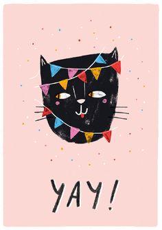 Teken-Ing kaart | Yay! cat