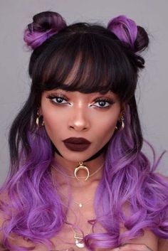 Hairstyles black hair color purple Ideas for 2019 Medium Hair Styles, Curly Hair Styles, Natural Hair Styles, Hip Hop Hair Styles, Hair Color Purple, Purple Ombre, Grunge Hair, Trendy Hairstyles, Black Hairstyles