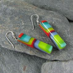 Modern Glass Earrings in Turquoise Teal by LindsaysDesigns on Etsy