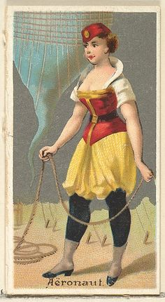 "American Gilded Age era - NYC - Trade Card, issued by Goodwin & Company. The ""Aeronaut"", from: ""The Occupations for Women Series'. Old Judge and Dogs Head Cigarettes. ~ {cwl} ~ (Image: The MET Museum). Vintage Cards, Vintage Images, Collectible Cards, Lightning Strikes, Old Postcards, Magical Girl, Vintage Photographs, Retro, Vintage Ladies"