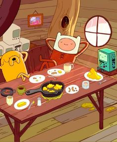 adventure time with finn jake. it's breakfast time. Adventure Time Tumblr, Jake Adventure Time, Wallpaper Animes, Cartoon Wallpaper, Vintage Cartoon, Cartoon Tv, Marceline, Abenteuerzeit Mit Finn Und Jake, Finn Jake