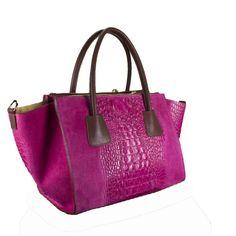 Leren tas Trapeze Bey Snake paars roze bruine hengsels luxe lederen tassen it bag