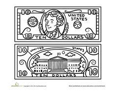 Preschool Math Worksheets: Ten-Dollar Bill Coloring Page Money Worksheets, School Worksheets, Cool Coloring Pages, Coloring For Kids, Colouring, Printable Play Money, 10 Dollar Bill, Learning Games For Kids, Learning Activities