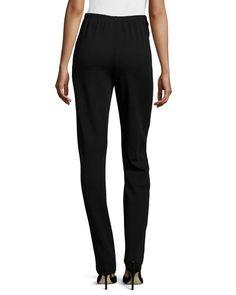 TACGV Caroline Rose Flat Knit Wool Pants, Black, Petite