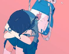 Art by Daisuke Richard Neon Aesthetic, Aesthetic Drawing, Aesthetic Anime, Anime Art Girl, Manga Art, Virtual Art, Cute Icons, Pastel Art, Animated Cartoons