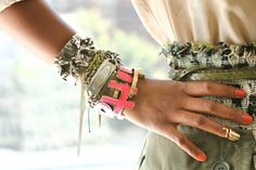 """Dedal 200+ Bracelets: Who Has The Best-Dressed Wrists In NYC? http://www.refinery29.com/fashion-archive-190#slide1  Shiona Turini, Accessories Director, Teen Vogue Where is each bracelet from? (from the hand upward) """"Two engraved bangles from my mom that I got at 16 (I NEVER take them off). Giles bangle with initials Louis Vuitton Sprouse bangle Fenton multi-ID bracelet and Fenton cuff Mary Kate Steinmiller friendship bracelet""""Any great stories behind the arm candy? """"When my mom gave ..."""