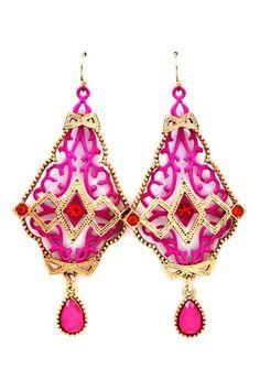Raspberry Deco Statement Earrings on Emma Stine Limited