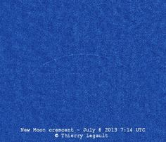 "Youngest new moon every photographed. (Credit: Thierry Legault) 2013-07-08. July 2013 Moon caught at the instant it was new, most nearly between the Earth and the Sun for that lunar orbit. Irregularities ""are caused by the relief at the edge of the lunar disk""."