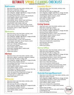The Ultimate Spring Cleaning Checklist + Cleaning Tips! The Effective Pictures We Offer You About spring cleaning walls A quality picture can tell you many things. Clean House Schedule, Spring Cleaning Checklist, Weekly Cleaning, House Cleaning Tips, Green Cleaning, Cleaning Hacks, Cleaning Schedules, Flylady, Natural Cleaning Products