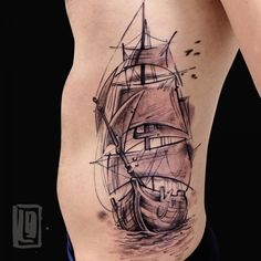 www.lucabraidotti.com #tattoo #abstract #sailingship #luckybone #avantgarde #paint