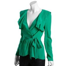 I love this BCBGMAXAZRIA emerald silk wrap ruffle blouse (via Shop It To Me)